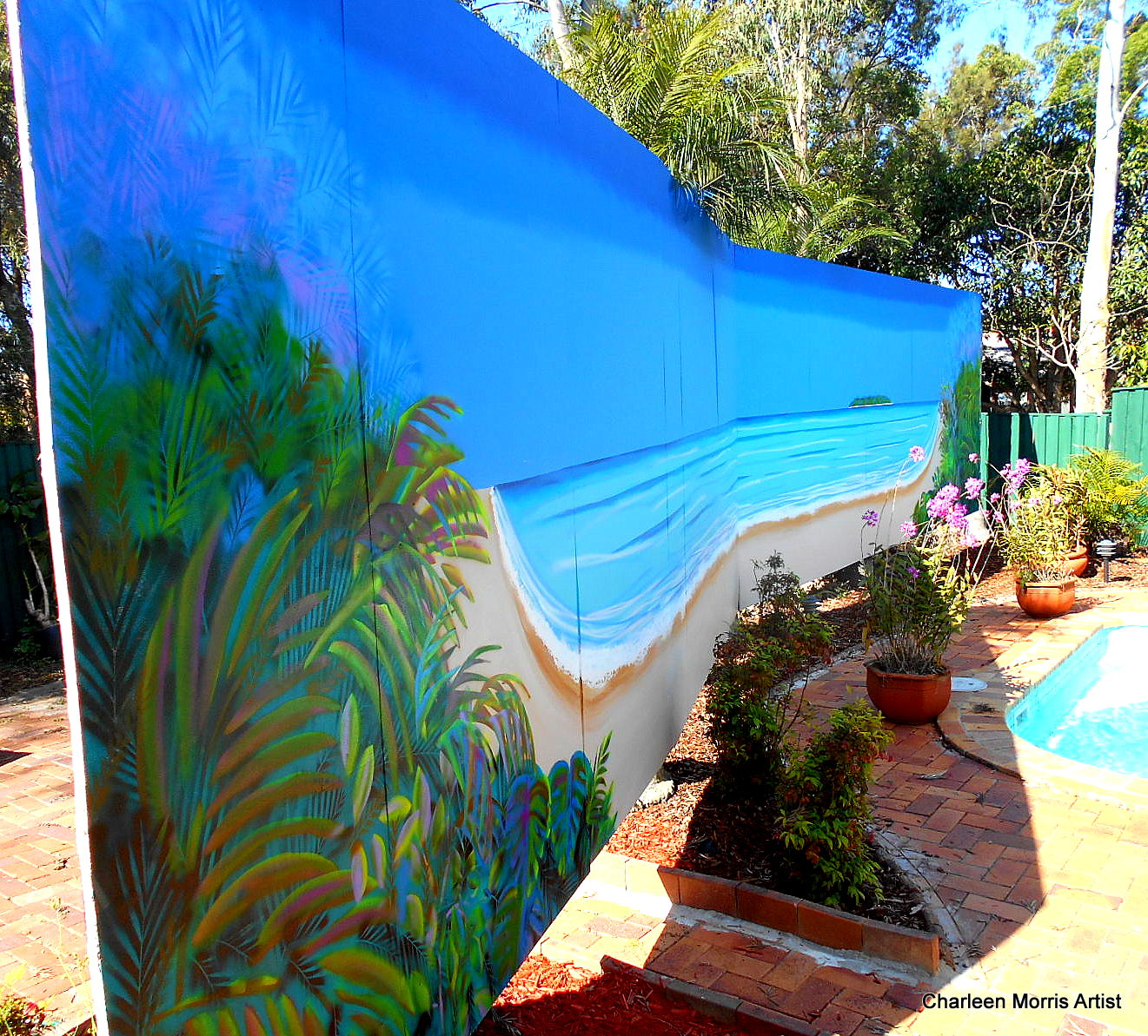 Tropical beach mural robina gold coast charleen morris art for Beach mural painting